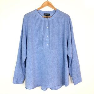 Lane Bryant Linen Blend Smocked Blouse 22/24